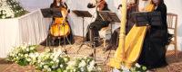 お別れの会でのバイオリン、ヴィオラ、チェロ、ハープの四重奏の生演奏