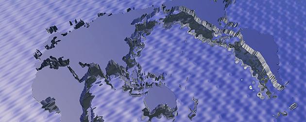 日本のみならず海外世界のあらゆる国が位置する大陸が描かれた世界地図